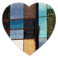Glass Facade Colorful Architecture Jigsaw Puzzle (heart) by BangZart