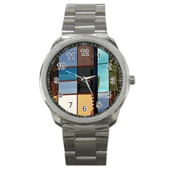 Glass Facade Colorful Architecture Sport Metal Watch