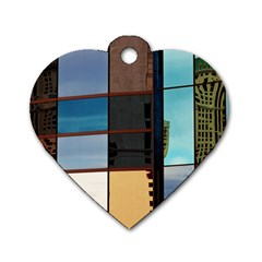Glass Facade Colorful Architecture Dog Tag Heart (two Sides) by BangZart