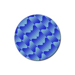 Gradient Blue Pinstripes Lines Rubber Coaster (round)