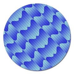 Gradient Blue Pinstripes Lines Magnet 5  (round) by BangZart