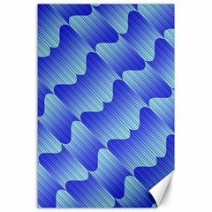 Gradient Blue Pinstripes Lines Canvas 24  X 36  by BangZart