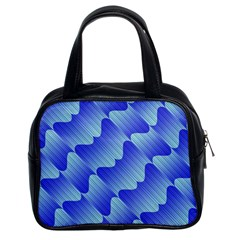 Gradient Blue Pinstripes Lines Classic Handbags (2 Sides)