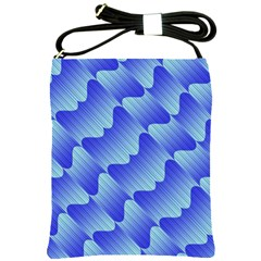 Gradient Blue Pinstripes Lines Shoulder Sling Bags by BangZart