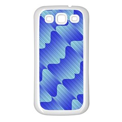 Gradient Blue Pinstripes Lines Samsung Galaxy S3 Back Case (white)