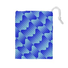 Gradient Blue Pinstripes Lines Drawstring Pouches (large)