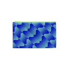 Gradient Blue Pinstripes Lines Cosmetic Bag (xs) by BangZart
