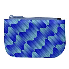 Gradient Blue Pinstripes Lines Large Coin Purse by BangZart