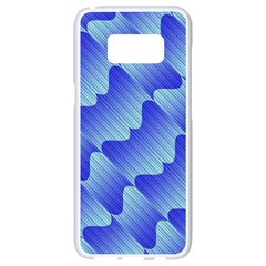 Gradient Blue Pinstripes Lines Samsung Galaxy S8 White Seamless Case