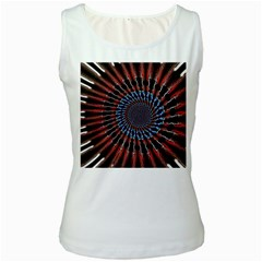 The Fourth Dimension Fractal Noise Women s White Tank Top