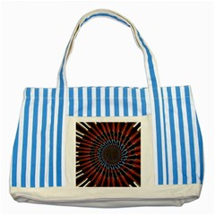 The Fourth Dimension Fractal Noise Striped Blue Tote Bag