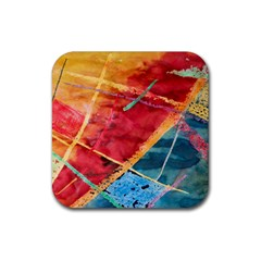 Painting Watercolor Wax Stains Red Rubber Square Coaster (4 Pack)