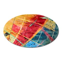 Painting Watercolor Wax Stains Red Oval Magnet