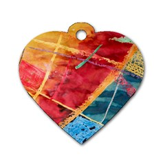 Painting Watercolor Wax Stains Red Dog Tag Heart (one Side)
