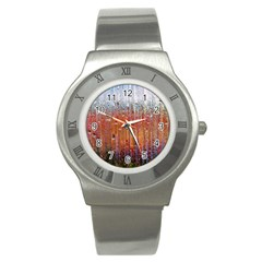 Glass Colorful Abstract Background Stainless Steel Watch by BangZart