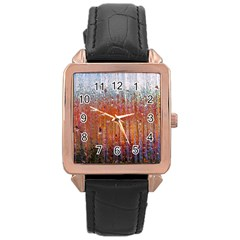 Glass Colorful Abstract Background Rose Gold Leather Watch