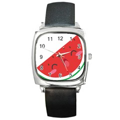 Watermelon Red Network Fruit Juicy Square Metal Watch by BangZart