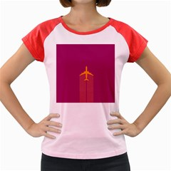 Airplane Jet Yellow Flying Wings Women s Cap Sleeve T Shirt
