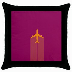 Airplane Jet Yellow Flying Wings Throw Pillow Case (black)