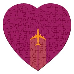 Airplane Jet Yellow Flying Wings Jigsaw Puzzle (heart) by BangZart