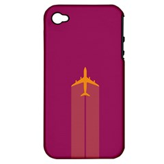Airplane Jet Yellow Flying Wings Apple Iphone 4/4s Hardshell Case (pc+silicone)