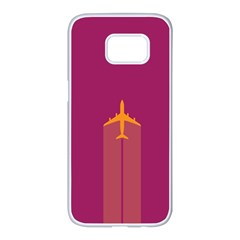 Airplane Jet Yellow Flying Wings Samsung Galaxy S7 Edge White Seamless Case