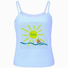 Summer Beach Holiday Holidays Sun Baby Blue Spaghetti Tank by BangZart