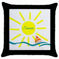Summer Beach Holiday Holidays Sun Throw Pillow Case (black) by BangZart