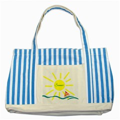Summer Beach Holiday Holidays Sun Striped Blue Tote Bag by BangZart