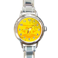 Texture Yellow Abstract Background Round Italian Charm Watch by BangZart