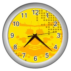 Texture Yellow Abstract Background Wall Clocks (silver)  by BangZart