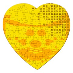 Texture Yellow Abstract Background Jigsaw Puzzle (heart) by BangZart