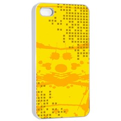 Texture Yellow Abstract Background Apple Iphone 4/4s Seamless Case (white)