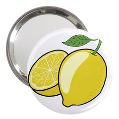 Lemon Fruit Green Yellow Citrus 3  Handbag Mirrors by BangZart