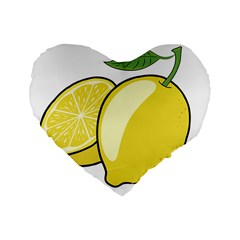 Lemon Fruit Green Yellow Citrus Standard 16  Premium Flano Heart Shape Cushions