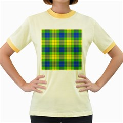 Spring Plaid Yellow Blue And Green Women s Fitted Ringer T Shirts