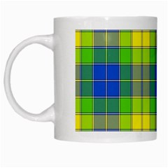 Spring Plaid Yellow Blue And Green White Mugs by BangZart