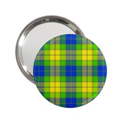 Spring Plaid Yellow Blue And Green 2 25  Handbag Mirrors