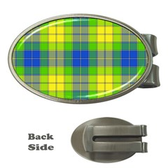Spring Plaid Yellow Blue And Green Money Clips (oval)  by BangZart