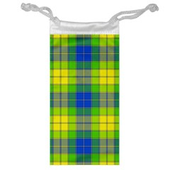 Spring Plaid Yellow Blue And Green Jewelry Bag