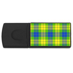Spring Plaid Yellow Blue And Green Rectangular Usb Flash Drive