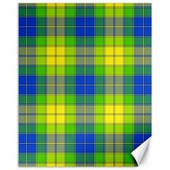 Spring Plaid Yellow Blue And Green Canvas 11  X 14