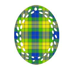 Spring Plaid Yellow Blue And Green Oval Filigree Ornament (two Sides)