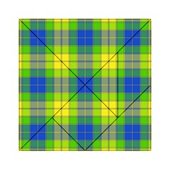 Spring Plaid Yellow Blue And Green Acrylic Tangram Puzzle (6  X 6 )