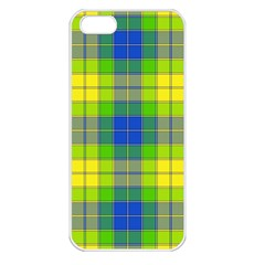 Spring Plaid Yellow Blue And Green Apple Iphone 5 Seamless Case (white)