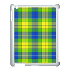 Spring Plaid Yellow Blue And Green Apple Ipad 3/4 Case (white)