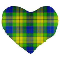 Spring Plaid Yellow Blue And Green Large 19  Premium Heart Shape Cushions by BangZart