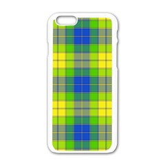 Spring Plaid Yellow Blue And Green Apple Iphone 6/6s White Enamel Case