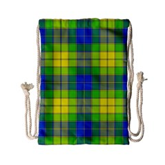 Spring Plaid Yellow Blue And Green Drawstring Bag (small)