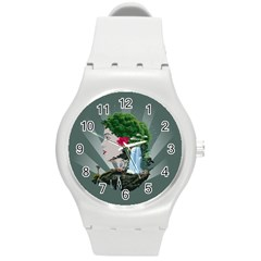 Digital Nature Beauty Round Plastic Sport Watch (m)